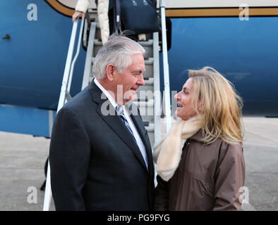 U.S. Secretary of State Rex Tillerson is greeted by U.S. Ambassador to France Jamie McCourt, upon arrival to Paris, France on January 22, 2018. - Stock Image