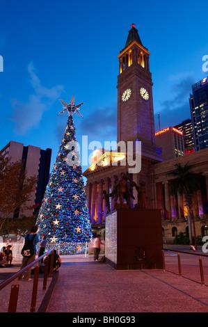 Solar powered Christmas tree at King George Square, Brisbane Australia - Stock Image