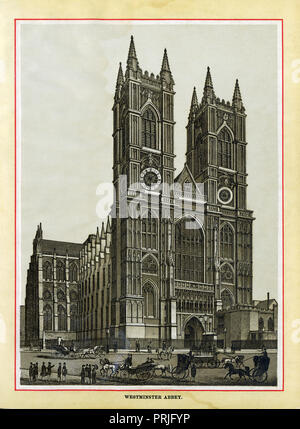 Westminster Abbey, 1883 high quality steel engraving of the cathedral opposite the Houses of Parliament, building of which was begun in 1245 by King Henry III - Stock Image