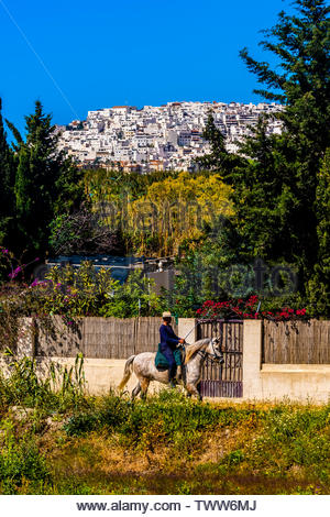 A man on horseback passes in front of the hilltop town of Salobrena, Costal Tropical, Granada Province, Andalusia, Spain. - Stock Image