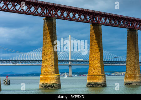 The three Forth bridges from South Queensferry, Edinburgh, Scotland, UK - Stock Image