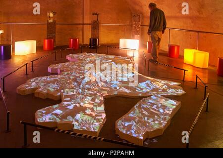 France, Cher, Sancerre, House of Sancerre, Relief map to discover the terroirs - Stock Image