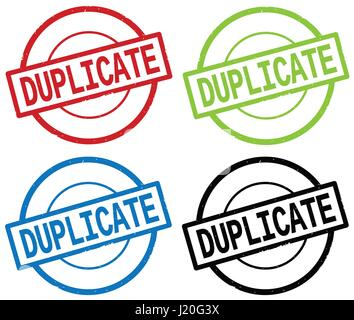 DUPLICATE text, on round simple stamp sign, in color set. - Stock Image