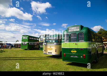 90th Kent County Show, Detling, 6th July 2019. Old Historic Greenline bus  number 402 going to Pratts Bottom. - Stock Image