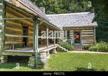 GOLDEN POND, KY, USA-30 JUNE 18: Back of the living quarters at The Homeplace, an 1850s working farm and living history museum. - Stock Image