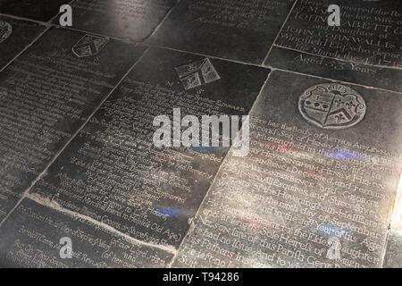 Floor with grave memorials church of Saint Andrew, Bramfield, Suffolk, England, UK memorial to Bridgett Applewhait once Bridgett Nelson - Stock Image
