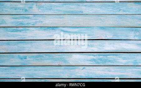 Turquoise bright colored old vintage wood table with horizontal boards. Grunge wooden background. Shabby chic France Provence style. Green blue sea co - Stock Image