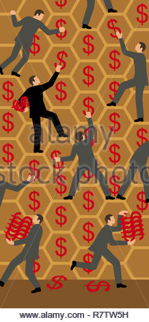 Businessmen gathering dollar signs from honeycomb - Stock Image