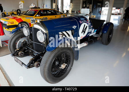 A Blue, 1925 Pre-War Bentley 3/4.5L Sports Car  in the International Pits during the 2019 Silverstone Classic Media Day/Test Day - Stock Image