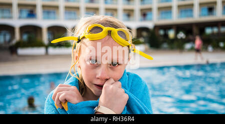 Portrait of girl at swimming-pool - Stock Image