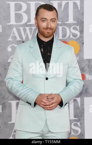 The Brit Awards 2019 held at the O2 - Arrivals  Featuring: Sam Smith Where: London, United Kingdom When: 20 Feb 2019 Credit: WENN.com - Stock Image