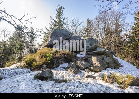 Rocks near Kalenica mountain in Landscape Park of Gory Sowie (Owl Mountains) mountain range in Central Sudetes, Poland - Stock Image