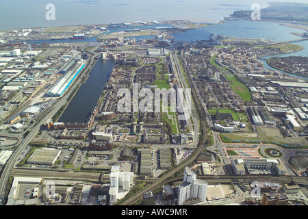 Aerial view of the Atlantic Wharf area of Cardiff Bay in Wales - Stock Image
