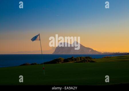 Rock of Gibraltar golf course Alcaidesa - Stock Image