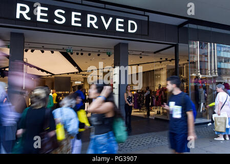 London.23rd August 2018. Reserved to present a new collection of clothes opening the same autumn season on during the evening shopping promotion.'Oxford Street In-Store Event' a year after the official opening of the Oxford Street store. Photo©Marcin Libera ; Reserved; @ReservedUK @Reserved #ReservedforLondon #ReservedUK @BritishVogue #BritishVogue #Vogue #Denim @DenimandSupplyRalphLauren - Stock Image