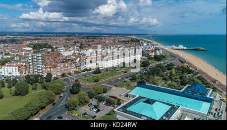 Aerial view of the town and the beach at Portsmouth and Southsea in Southern England - Stock Image