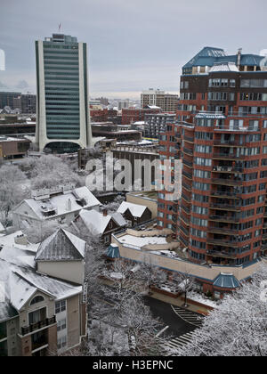 Stamford Downtown, Winter scene, CT, USA - Stock Image
