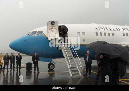 U.S. Secretary of State Rex Tillerson disembarks his plane upon arrival at Wellington International Airport in Wellington, - Stock Image