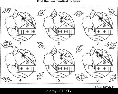 IQ training find the two identical pictures with rural houses visual puzzle and coloring page. Answer included. - Stock Image