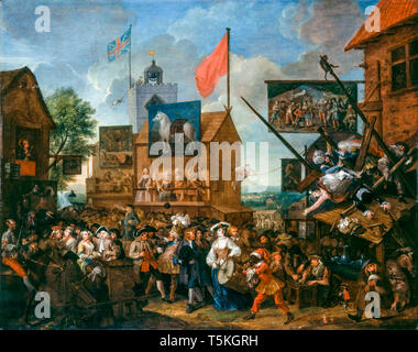 William Hogarth, Southwark Fair, painting, 1733 - Stock Image