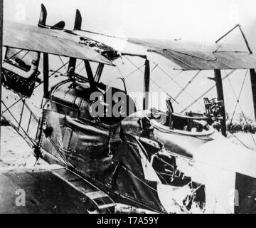 An aircraft of the First World War, showing details of extensive damage due to anti aircraft fire during battle. - Stock Image