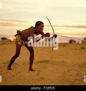 Bushman Hunting, Botswana, Africa - Stock Image