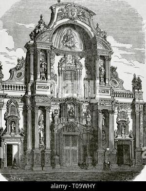 Spain. Murcia. Cathedral. Main facade, Baroque style, 1737-1754. Drawing by Letre. Engraving by Capuz. Cronica General de España, Historia Ilustrada y Descriptiva de sus Provincias. Murcia, 1870. - Stock Image