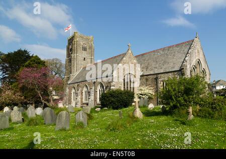 The Church of Holy Cross in Newton Ferrers Devon - Stock Image