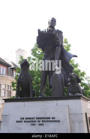Statue of Sir Robert Grosvenor Belgrave Square London - Stock Image