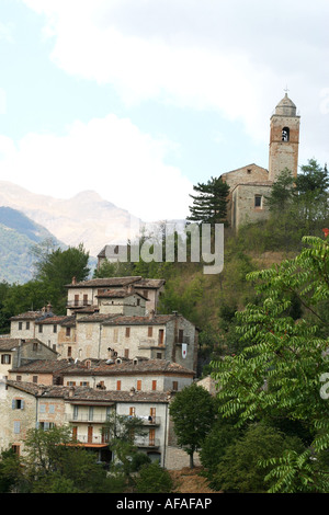 The Charming historic hilltown of Montefortino in the  Sibillini National park,Le Marche,Italy - Stock Image