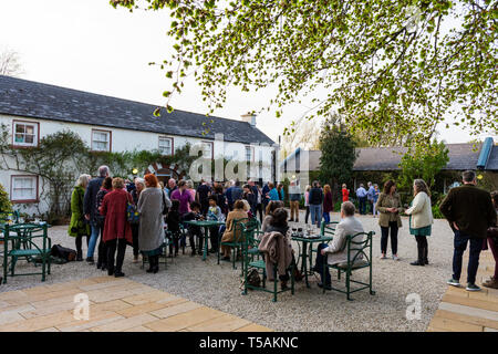 Glebe House and Gallery. Guests gather for the opening of an art exhibition. County Donegal, Ireland - Stock Image