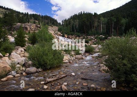 Horseshoe Park Alluvial Fan in Rocky Mountain National Park, Estes Park, Colorado, United States of America - Stock Image