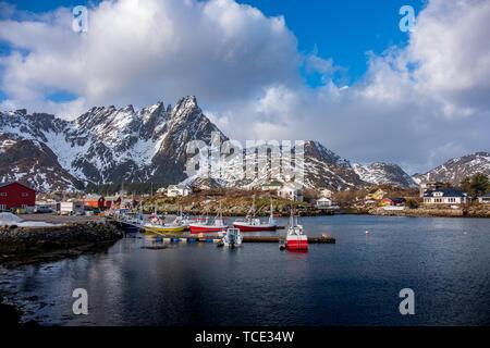 Fishing boats, Ballstad, Vestvagoy, Lofoten, Nordland, Norway - Stock Image