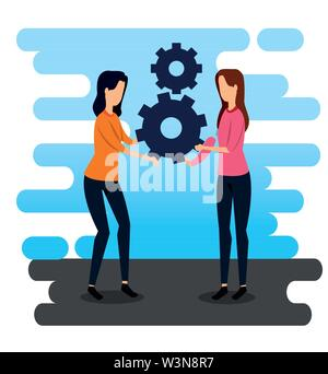 professional businesswomen teamwork and gears strategy - Stock Image