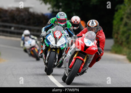 Skerries, County Dublin, Ireland. 8th July, 2018. The Skerries 100 Motorcycle road racing; Daniel Mettam leads Michael Sweeney in the early stages of the Grand Final race at the 2018 Skerries, eventually finishing in 3rd place Credit: Action Plus Sports/Alamy Live News - Stock Image