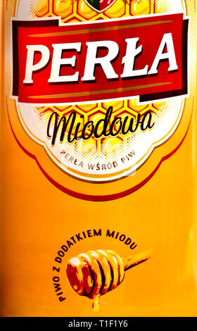 Polish 'Honey' Beer (Perla) 6% lager flavoured with honey from the Lublin region of Poland - Stock Image