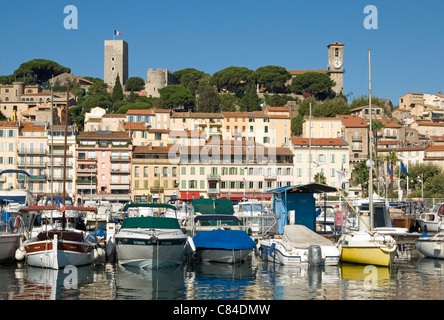 Cannes, harbour, old quarter in background, French Riviera - Stock Image