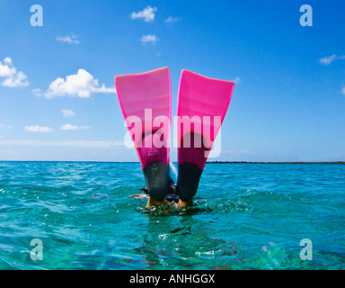 Pink dive fins diving into blue cyan caribbean sea - Stock Image