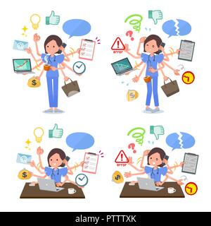 A set of Surgical Doctor women who perform multitasking in the office.There are things to do smoothly and a pattern that is in a panic.It's vector art - Stock Image
