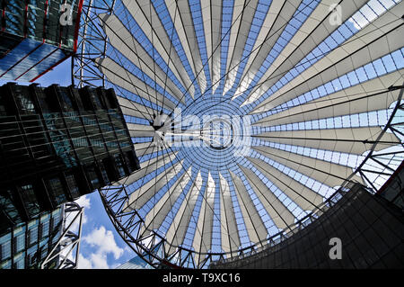 The glass roof over the Berlin Sony Center, Berlin, Germany - Stock Image