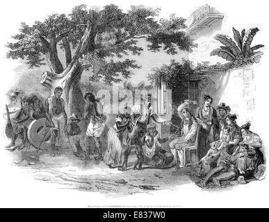 Domestic Punishment of Slaves, Brazilian Sugar plantation 1844 - Stock Image