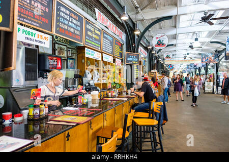 N'awlins Cafe & Spice Emporium restaurant counter, interior view of New Orleans French Market, farmer's market, New Orleans French Quarter, Louisiana, - Stock Image