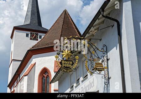 Brewery & Church in Schlüsselfeld, Franconia, Bavaria, Germany. - Stock Image