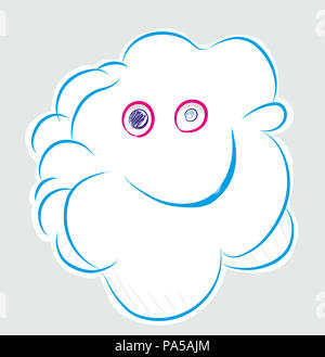 Smiling cloud.  Smiling  cloud illustration. Happy smiling cloud in the grey background. - Stock Image