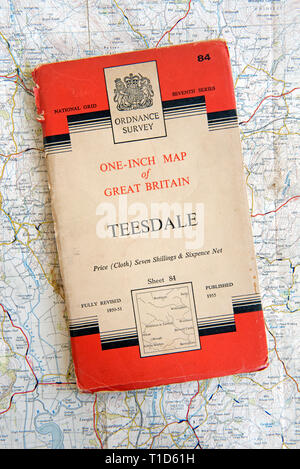 Ordnance Survey one-inch Map of Great Britain sheet 84,Teesdale.  Price for cloth edition 7 shillings and sixpence net.  Published 1955 - Stock Image