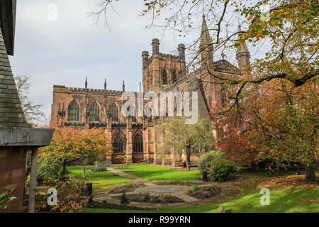 Chester Cathedral, dedicated to Christ and the Blessed Virgin Mary, a Church of England cathedral at Chester, the County town of Cheshire, England, UK - Stock Image