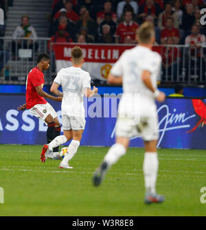 Optus Stadium, Burswood, Perth, W Australia. 17th July 2019. Manchester United versus Leeds United; pre-season tour; Marcus Rashford of Manchester United shoots and scores in the 27th minute to make the score 2-0 Credit: Action Plus Sports Images/Alamy Live News - Stock Image