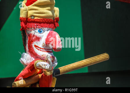 Traditional British seaside puppet show featuring Mr Punch. - Stock Image