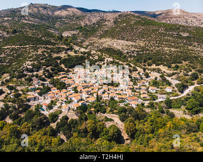 Maries village in the middle of Thasos Island, famous for it's old olive trees - Stock Image
