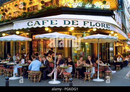 cafe de flore in St Germain des Pres Paris France - Stock Image